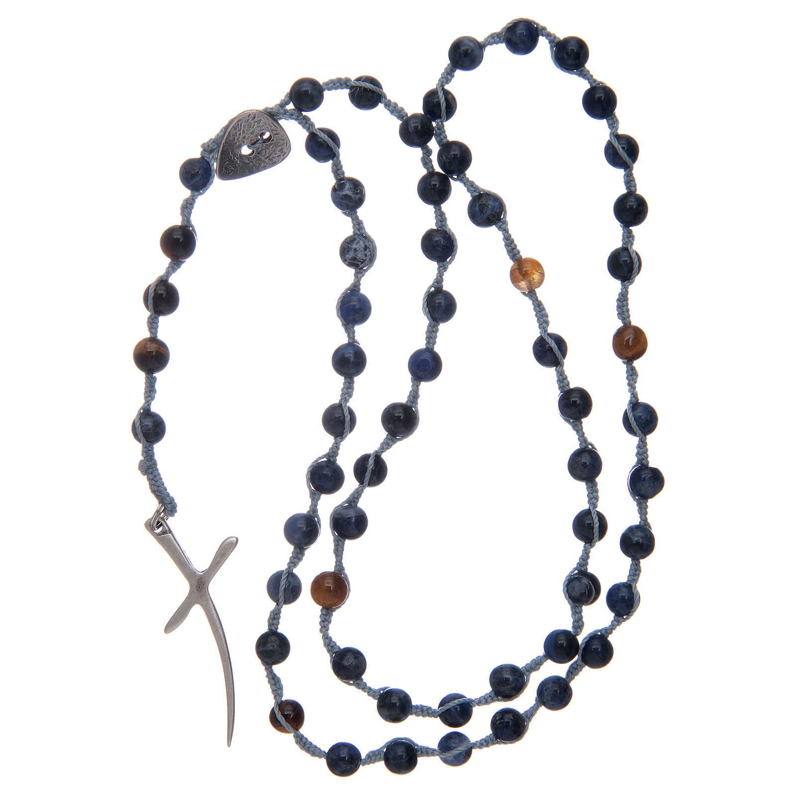Rosary beads with sodalite grains and cross 4