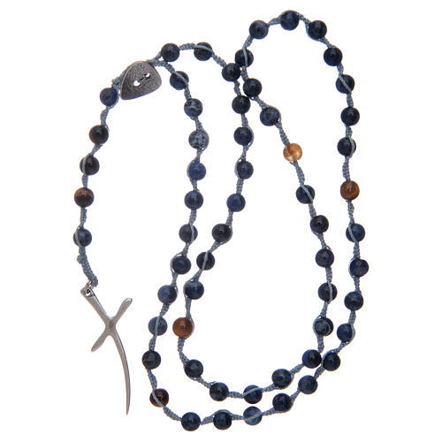 Rosario corona con grani in pietra sodalite e croce 4