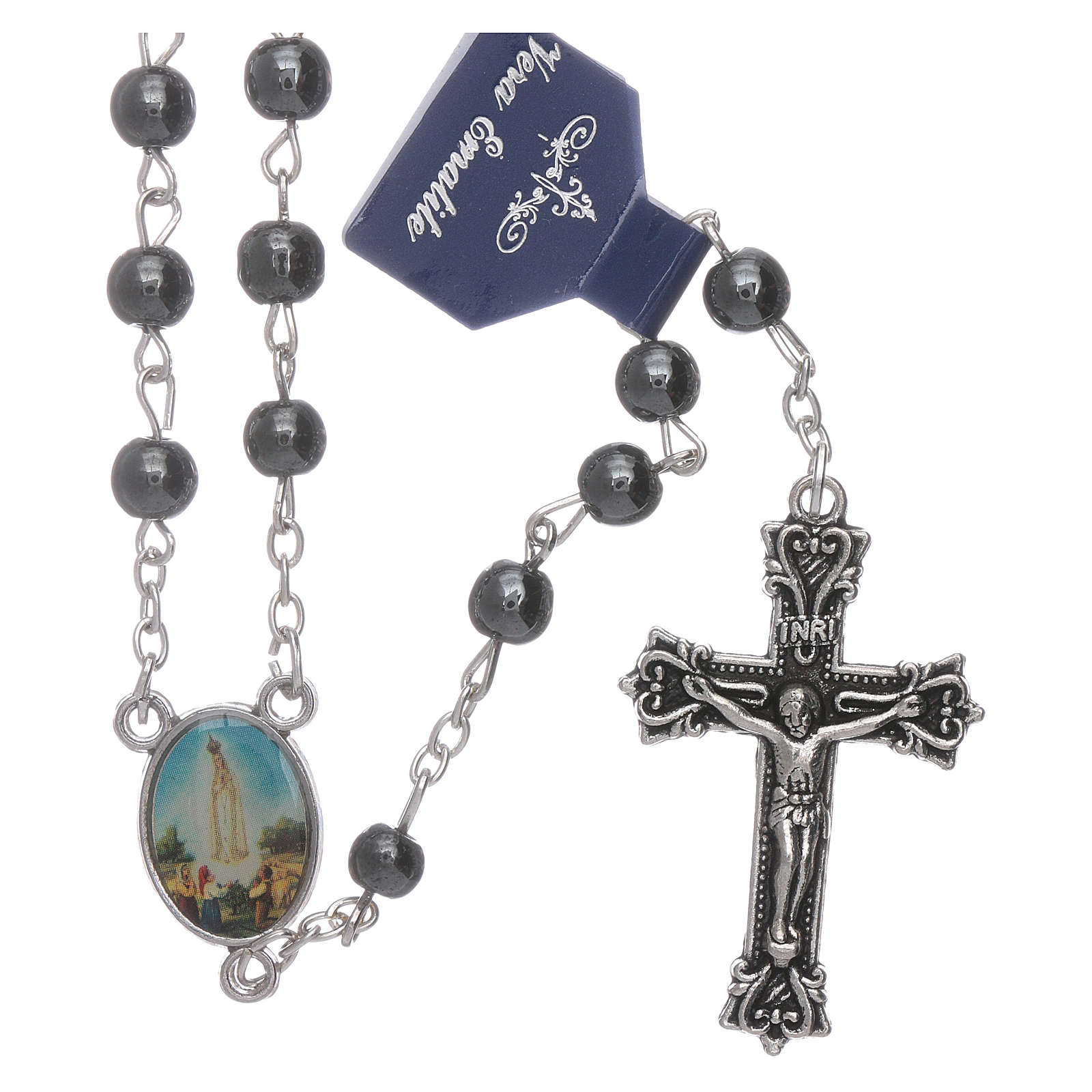 Our Lady of Fatima rosary hematite 6mm beads 4