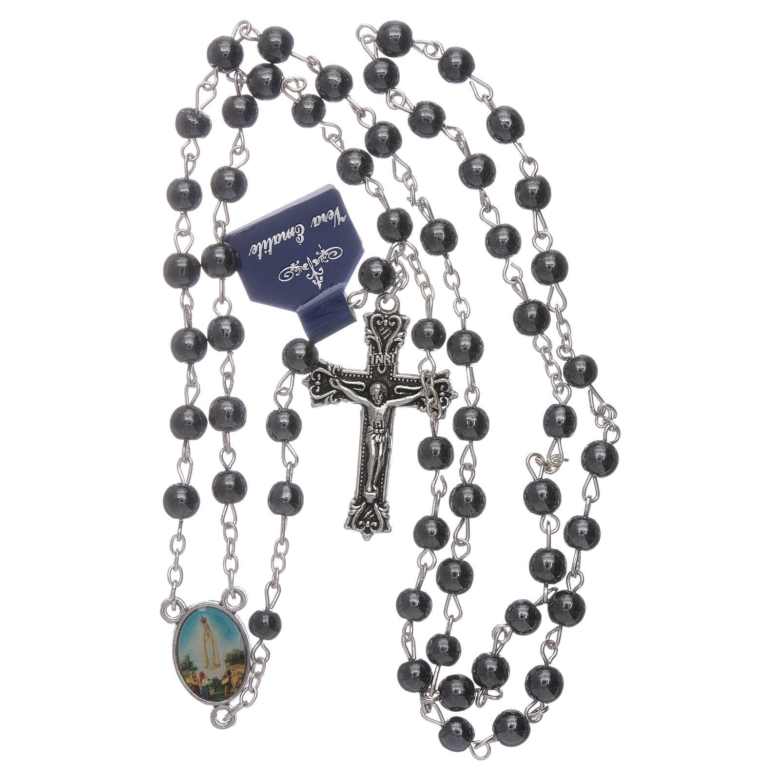 Rosario Virgen de Fátima de Hematites 6 mm en caja cartulina 4