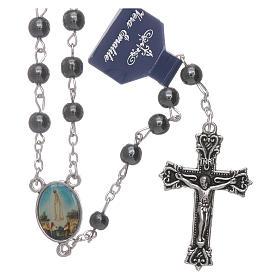 Rosario Virgen de Fátima de Hematites 6 mm en caja cartulina s1