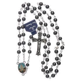 Rosario Virgen de Fátima de Hematites 6 mm en caja cartulina s4