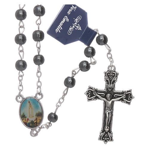 Rosario Virgen de Fátima de Hematites 6 mm en caja cartulina 1