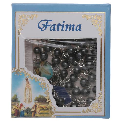 Rosario Virgen de Fátima de Hematites 6 mm en caja cartulina 5
