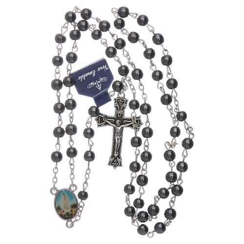 Rosario Madonna di Fatima in Ematite 6 mm in scatola cartoncino 4