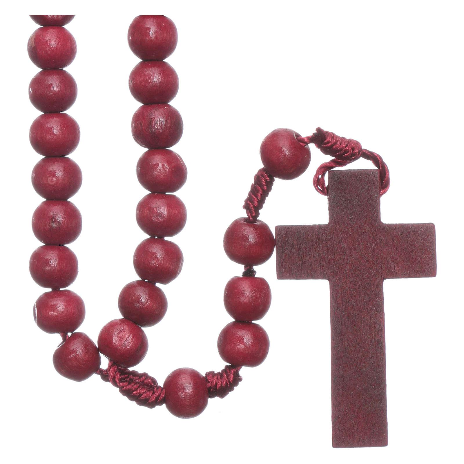 Rosenkranz mit 8 mm Holzperlen auf Seidenkordel 4