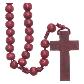 Holz Rosenkränze:  Rosenkranz mit 8 mm Holzperlen auf Seidenkordel