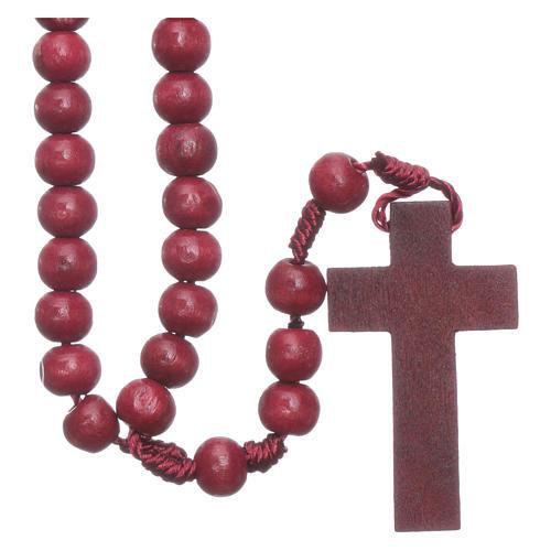 Rosenkranz mit 8 mm Holzperlen auf Seidenkordel 1