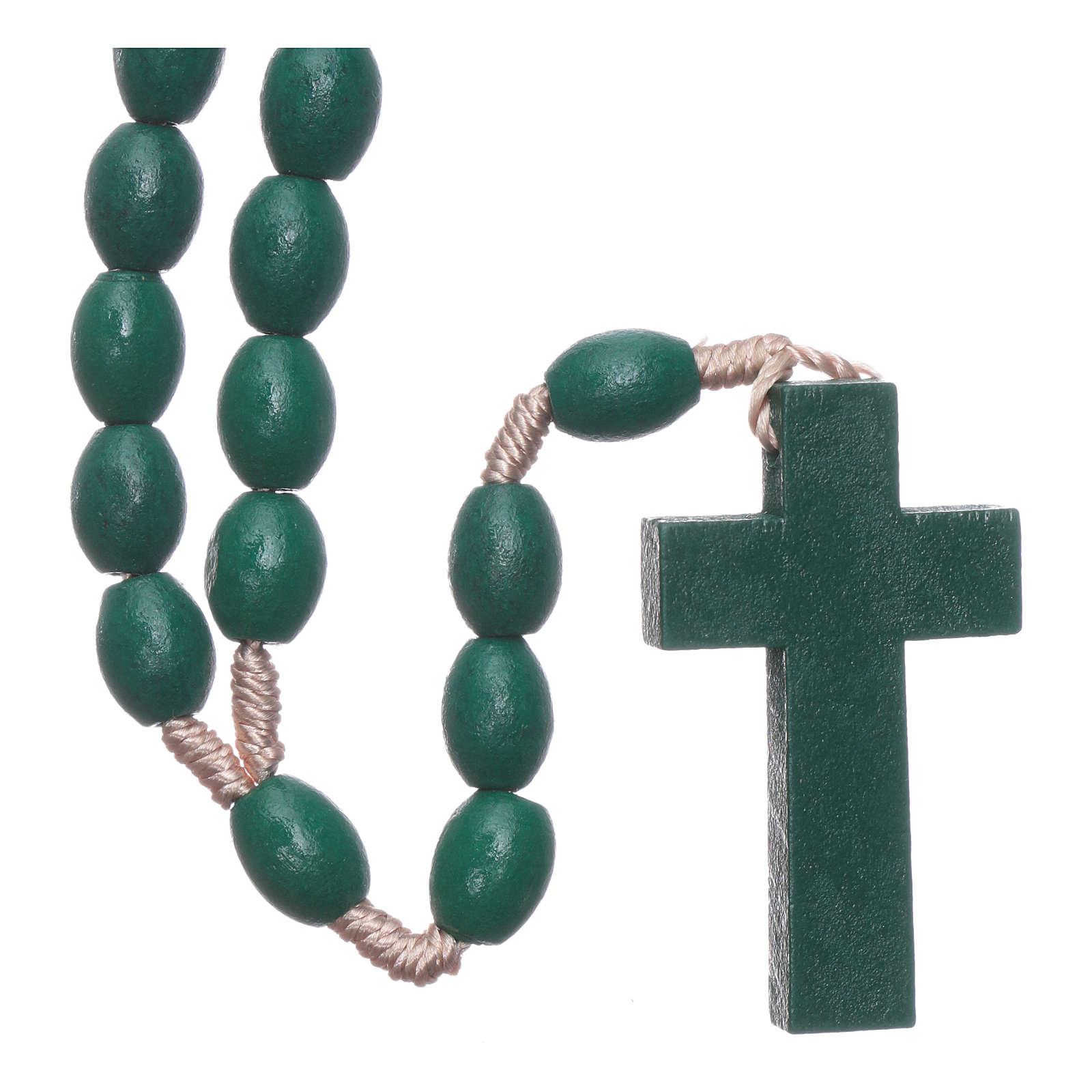Rosario in legno grani ovali verde 8 mm legatura seta 4