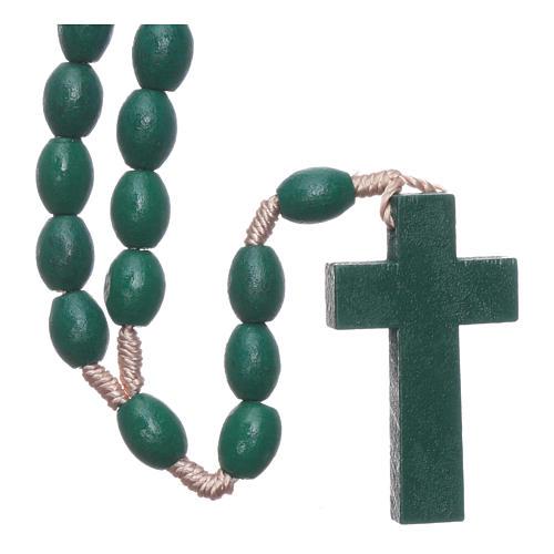 Rosario in legno grani ovali verde 8 mm legatura seta 2