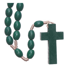 Rosary with oval green grains 8 mm silk setting s2