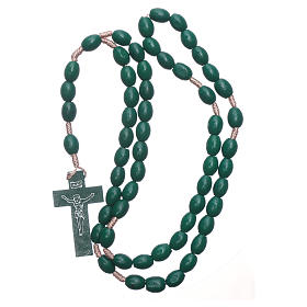 Rosary with oval green grains 8 mm silk setting s4