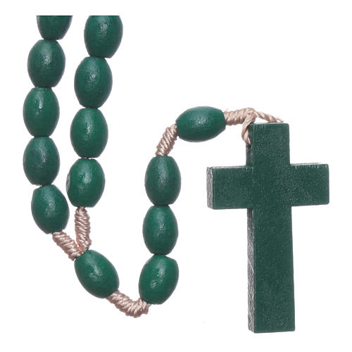 Rosary with oval green grains 8 mm silk setting 2