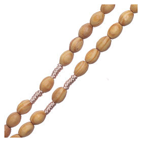 Rosary with wooden oval grains 8 mm silk setting s3