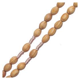 Chapelet en bois grains ovales beige 8 mm fil soie s3