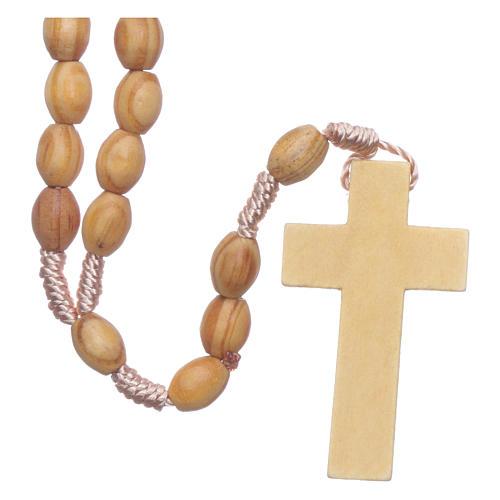 Rosario in legno ulivo grani ovali 8 mm legatura seta 2