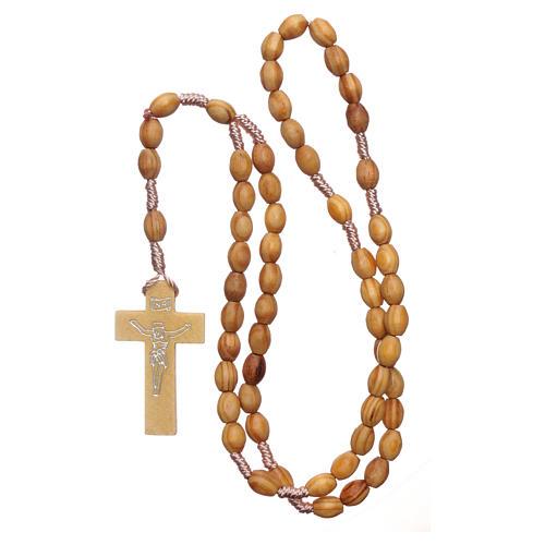 Rosario in legno ulivo grani ovali 8 mm legatura seta 4