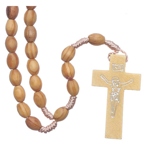 Rosary with wooden oval grains 8 mm silk setting 1