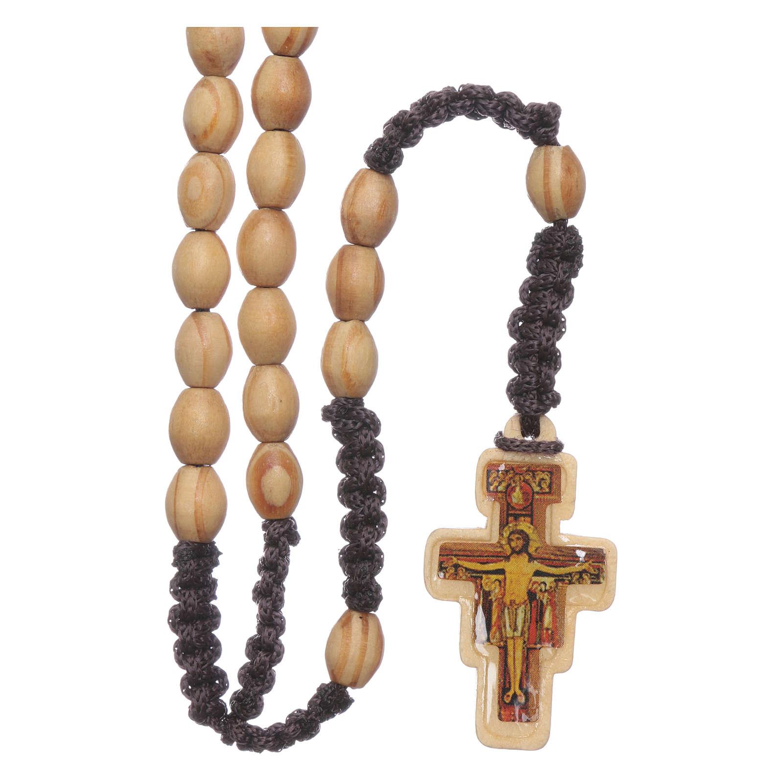 Rosenkranz ovale Olivenholzperlen mit Kreuz von San Damiano auf Seidenfaden 4