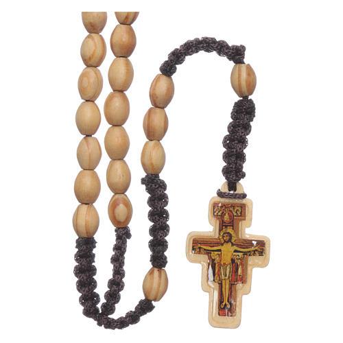 Rosenkranz ovale Olivenholzperlen mit Kreuz von San Damiano auf Seidenfaden 1