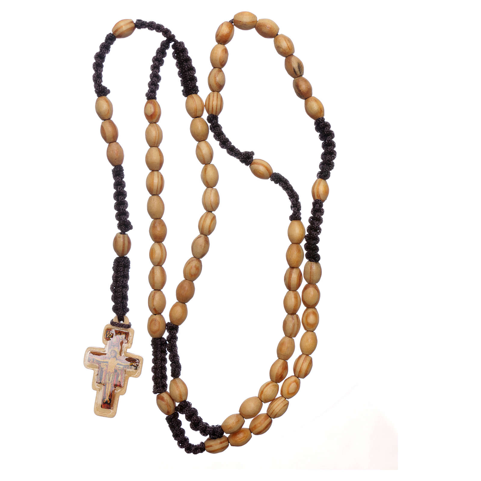 Rosary in olive wood oval Saint Damien silk setting 4
