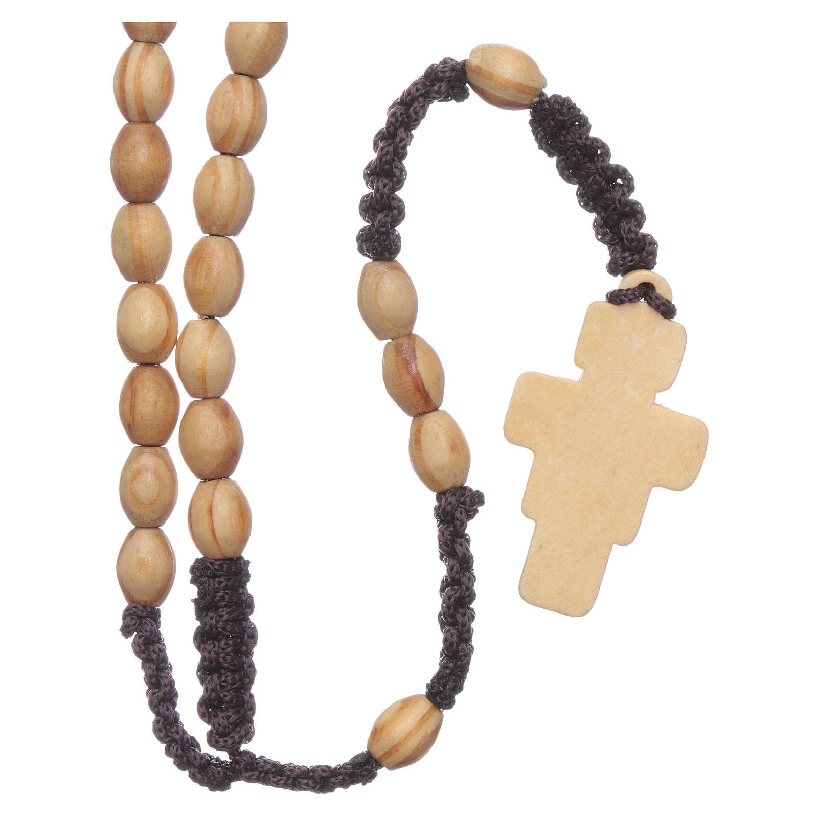 Rosario olivo ovalado con cruz San Damián ligadura seda 4