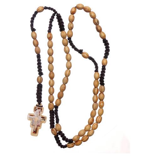 Rosario ulivo ovale con croce San Damiano legatura seta 4