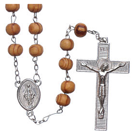 Rosary with medals in olive wood 8 mm s1