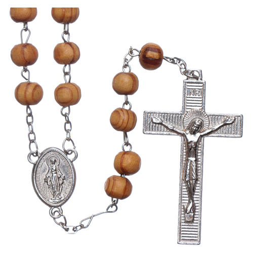 Rosary with medals in olive wood 8 mm 1