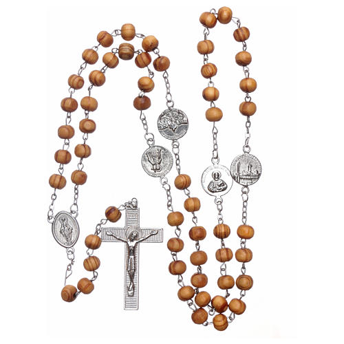Rosary with medals in olive wood 8 mm 5