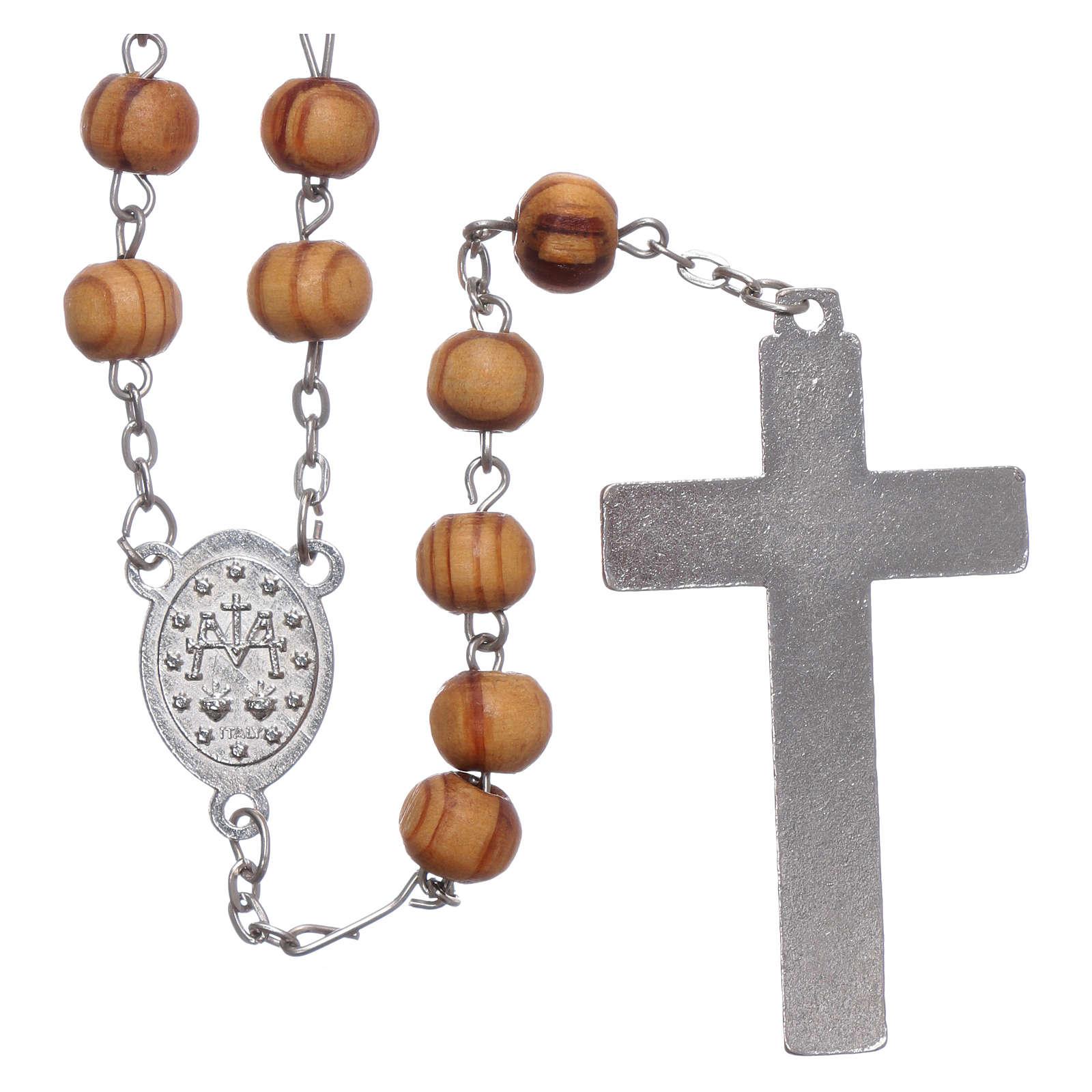 Rosario in legno ulivo medaglie 8 mm 4
