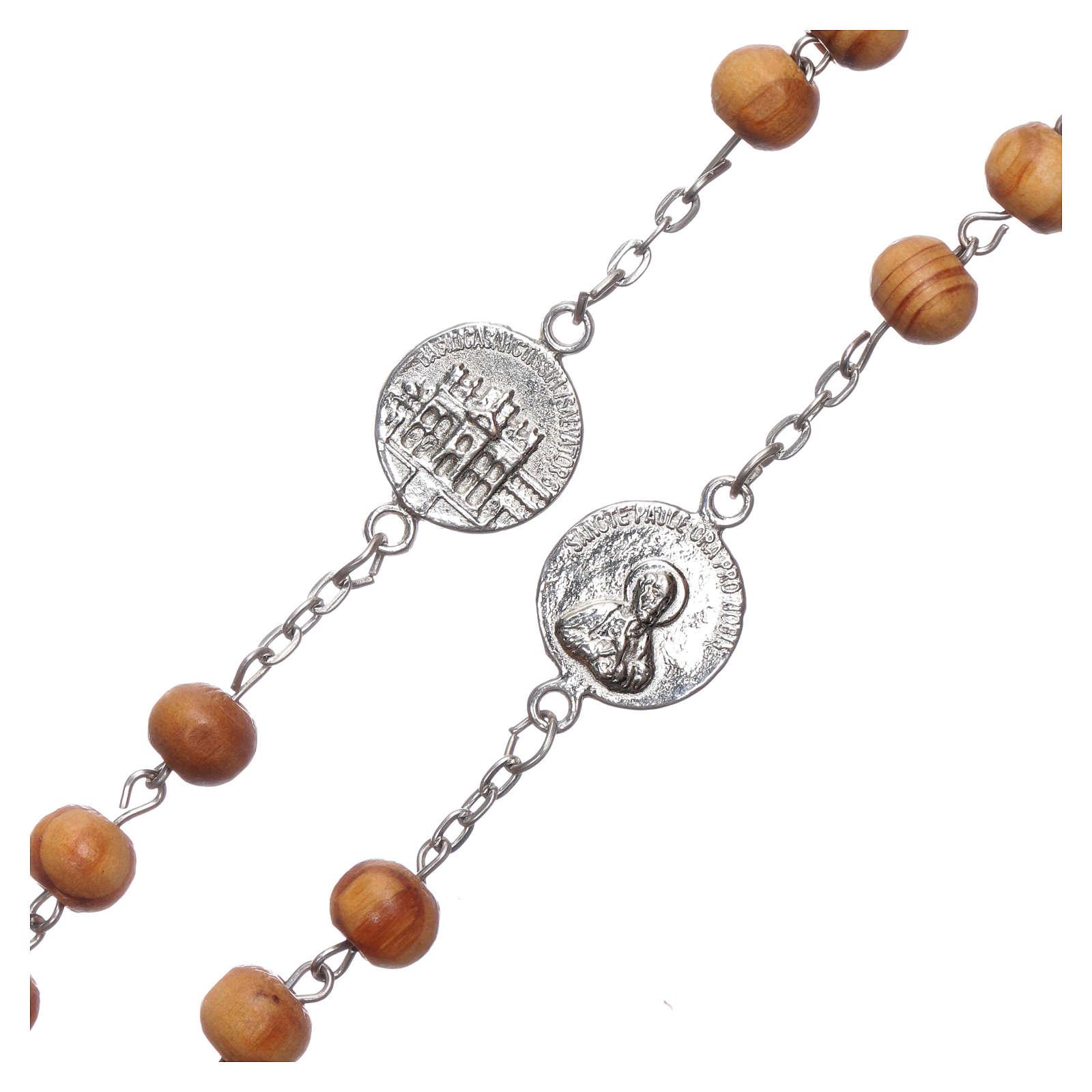 Różaniec z drewna oliwnego medaliki 8 mm 4