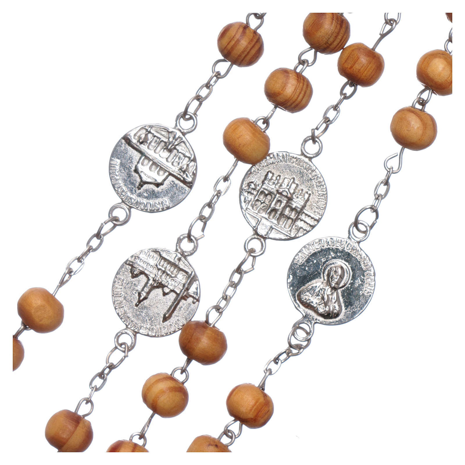 Rosary with medals in olive wood 8 mm 4