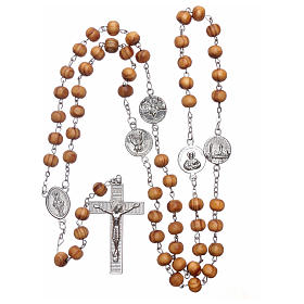 Rosary with medals in olive wood 8 mm s5