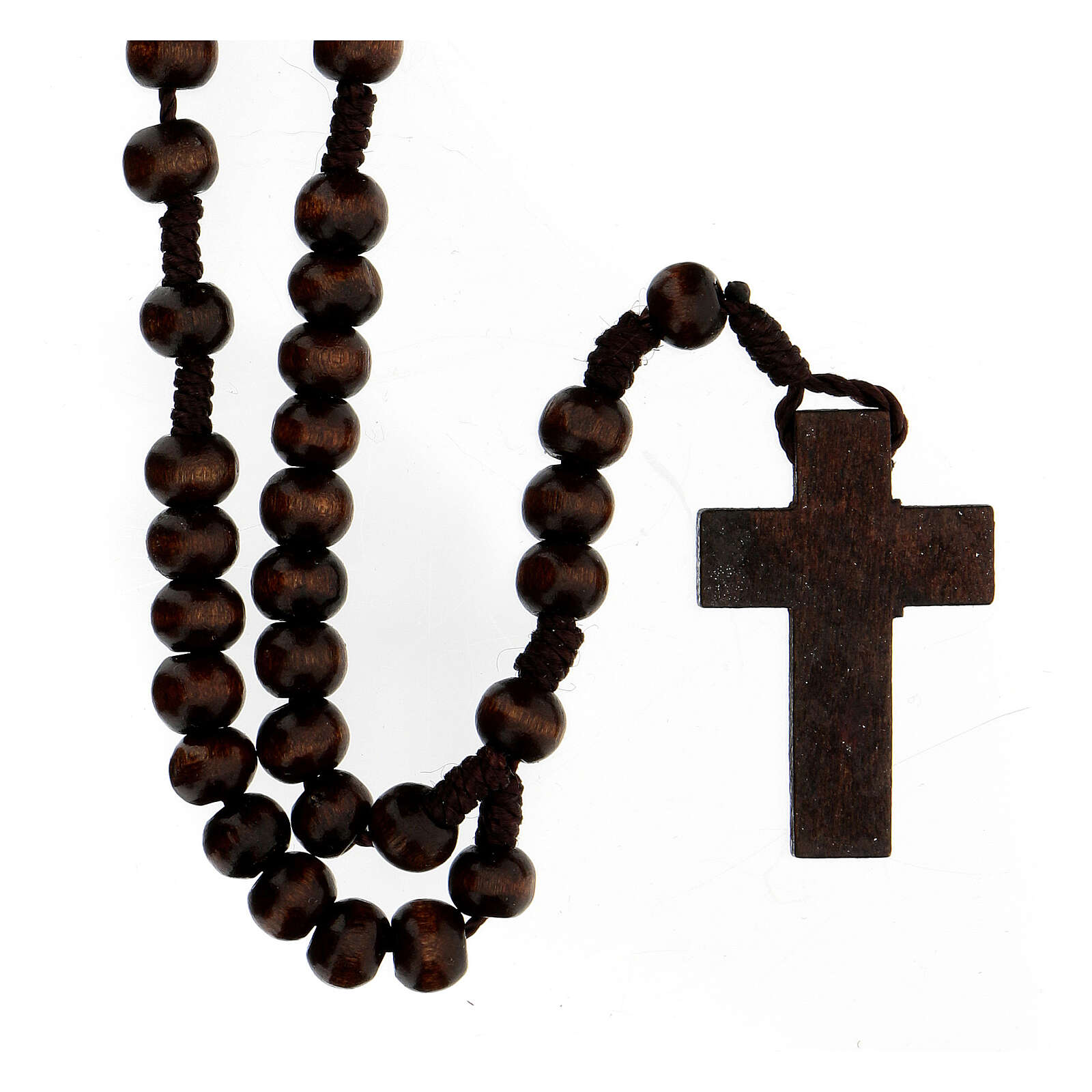 Rosary in brown wood round 7 mm with silver setting 4