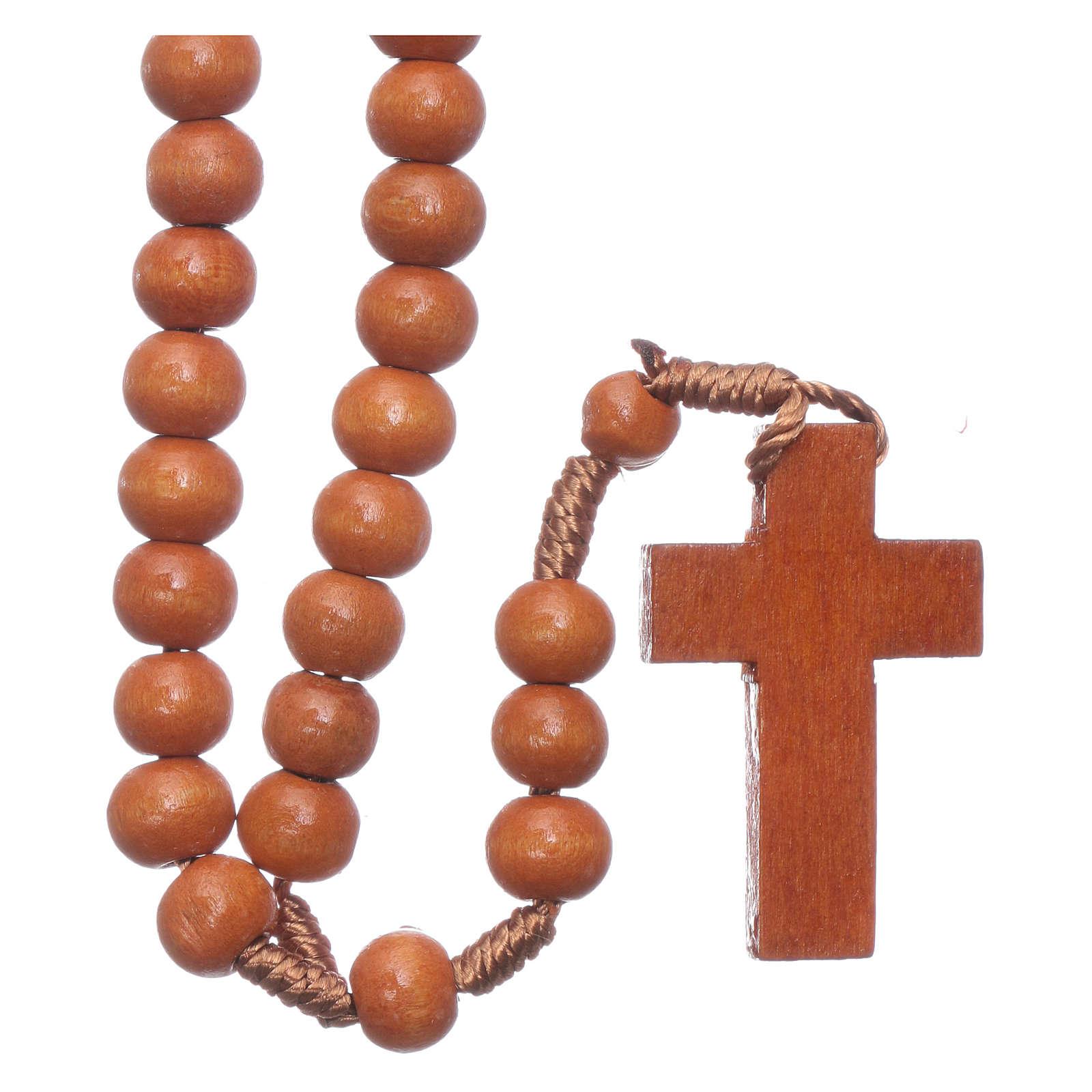 Rosario in legno tondo marrone 7 mm legatura seta 4