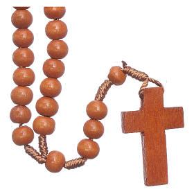 Rosario in legno tondo marrone 7 mm legatura seta s1