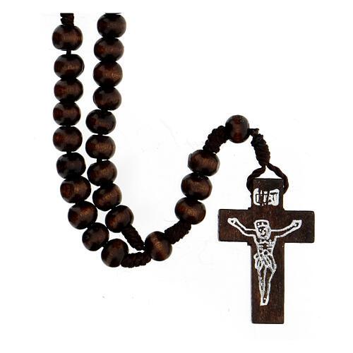 Rosario in legno tondo marrone 7 mm legatura seta 1