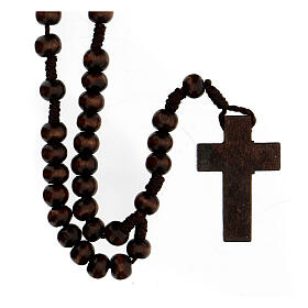 Rosary in brown wood round 8 mm with silver setting s2