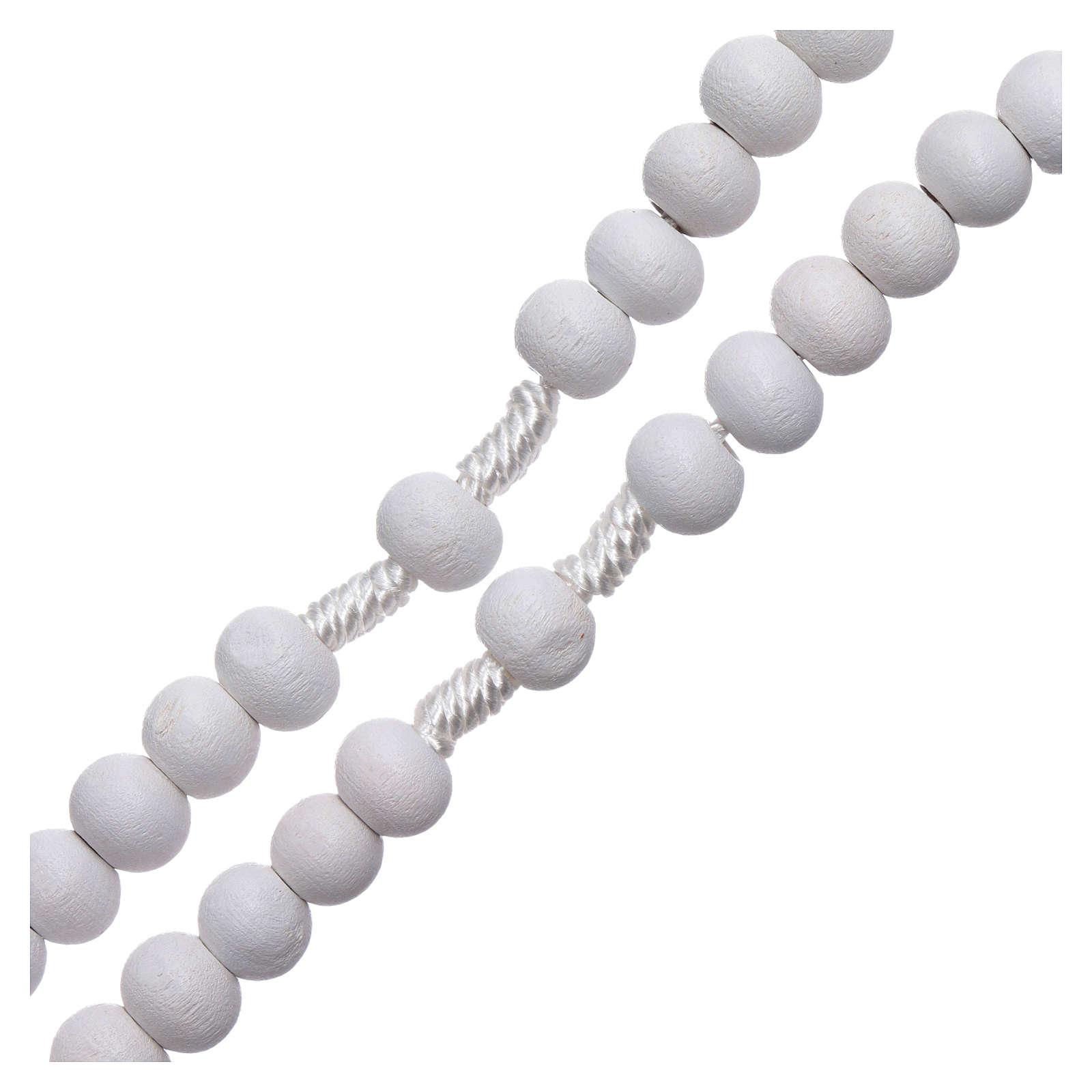 Rosario de madera redondo blanco 7 mm ligadura seda 4