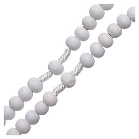 Rosario de madera redondo blanco 7 mm ligadura seda s3