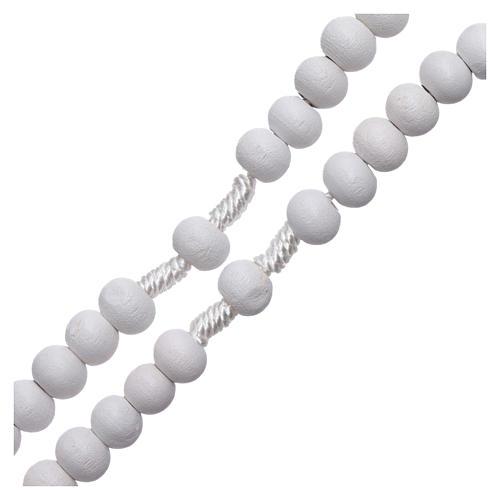 Rosario de madera redondo blanco 7 mm ligadura seda 3
