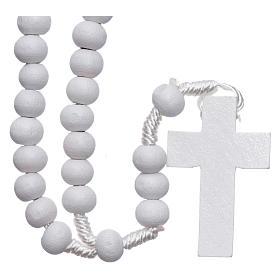 Rosari legno: Rosario in legno tondo bianco 7 mm legatura seta