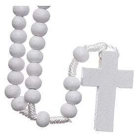 Rosary in white wood grains round 8 mm silk setting s2