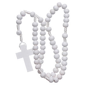 Rosary in white wood grains round 8 mm silk setting s4