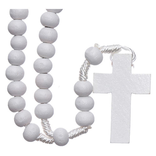Rosary in white wood grains round 8 mm silk setting 1