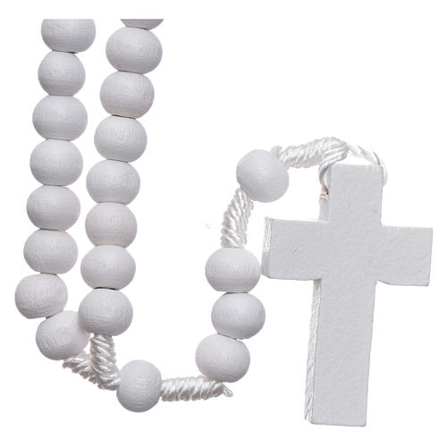 Rosary in white wood grains round 8 mm silk setting 2