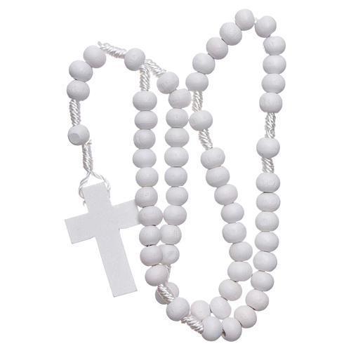 Rosary in white wood grains round 8 mm silk setting 4