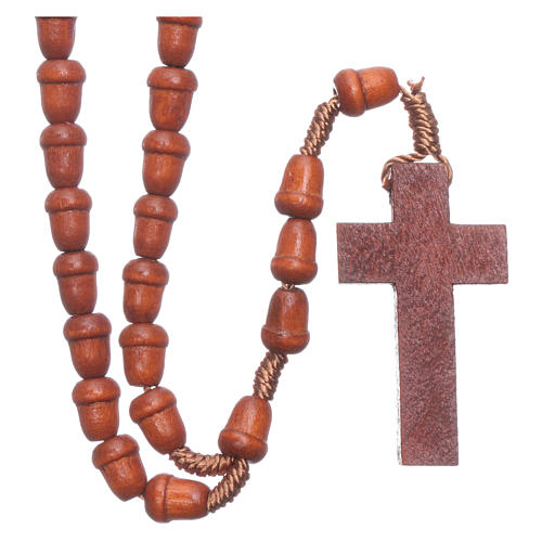 Rosary in wood with akron shaped grains 1