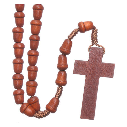 Rosary in wood with akron shaped grains 2
